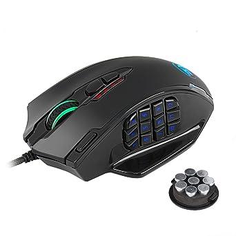 Redragon M908 Impact RGB LED MMO Mouse Ratón para juegos con cable y láser con 12,400