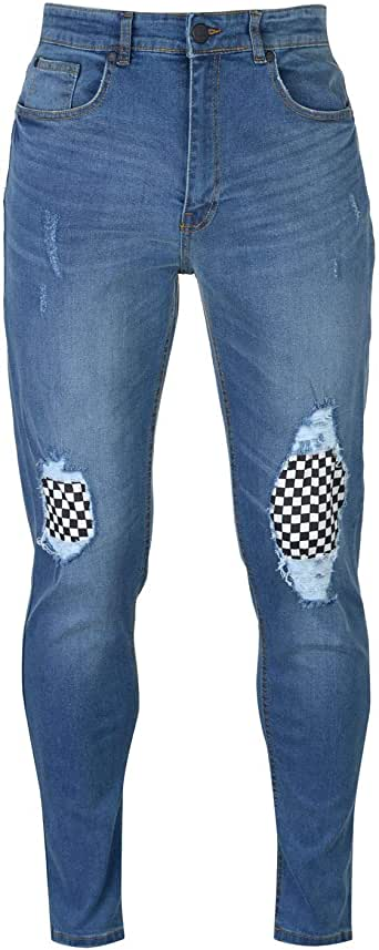 No Fear Check Knee Jeans Mens Skate Clothing Pants Trousers Bottoms Mid Wash 30W Reg Blue