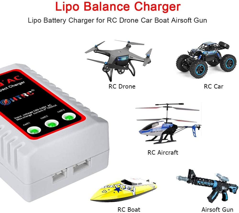 HTRC LiPo Charger 2S-3S Balance Battery Charger 7.4-11.1V RC B3AC Pro Compact Charger(White): Toys & Games
