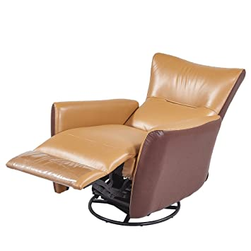 REMSOFT Nursery Rocker Glider Chairs / Swivel Recliner Rocking Chair Brown  Leather Sofa Seat Home Theater
