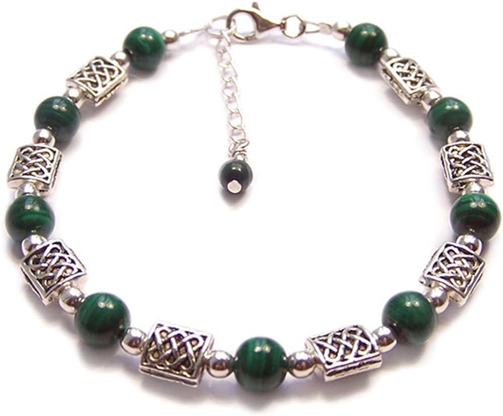 Pulsera de plata de ley con nudos celtas y piedras preciosas de color verde malaquita