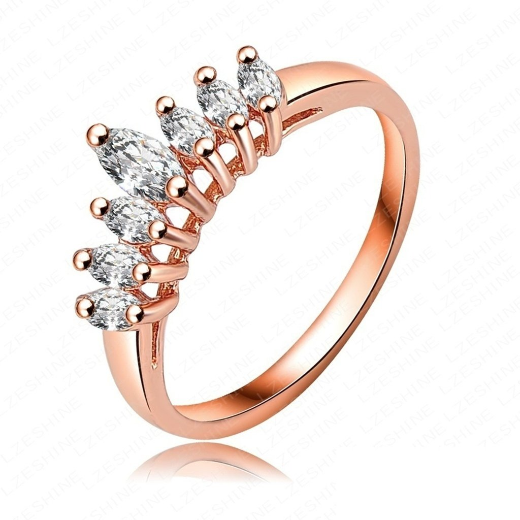 Bishilin 18K Gold Plated Fashion Womens Ring Wedding Bands Crown Shape Rose Gold US Size 8
