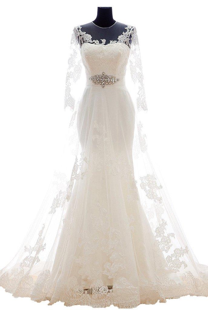 Snowskite Womens Mermaid Long Sleeves Vintage Lace Wedding Dress 22 White by Snowskite