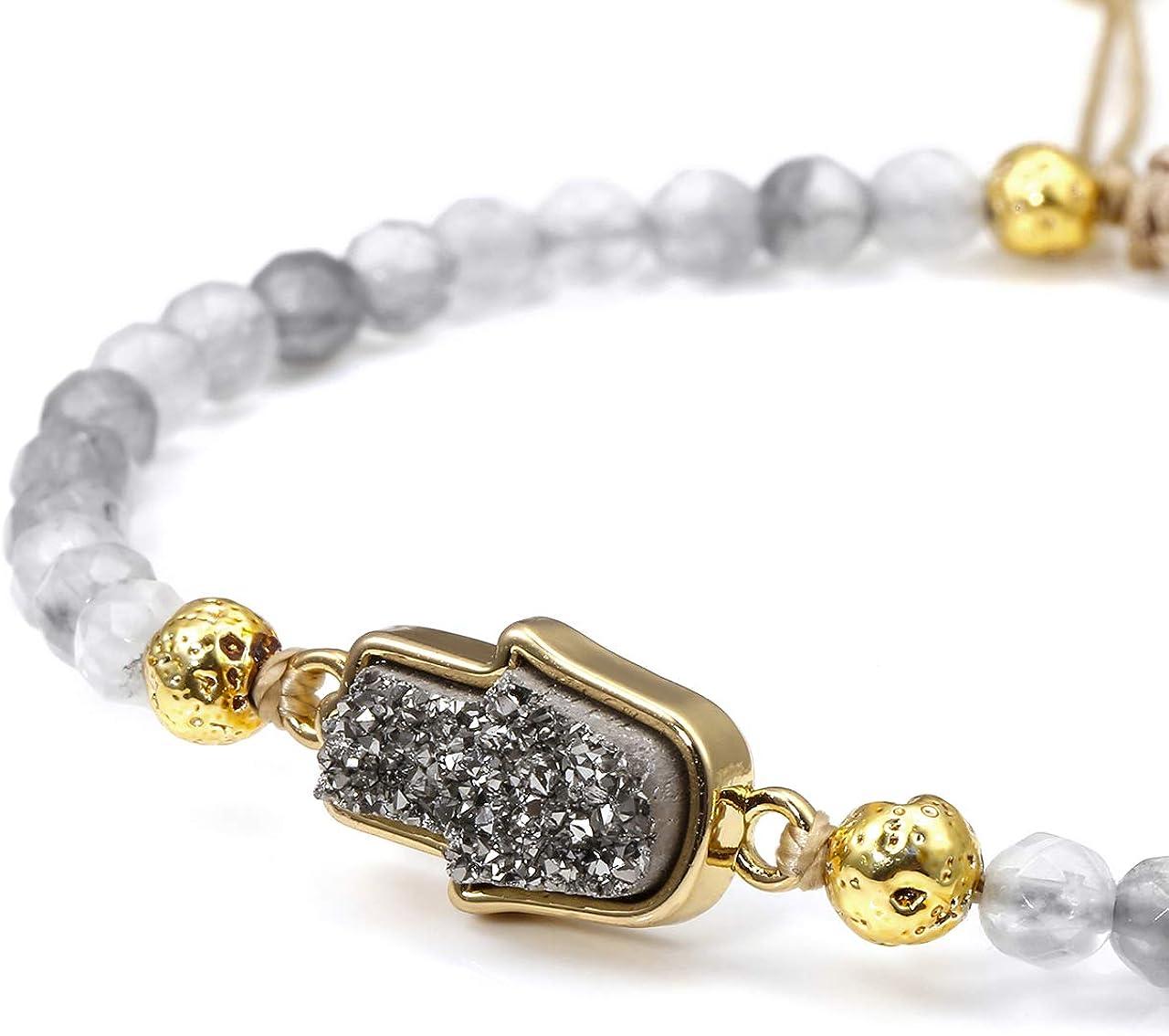 Top Plaza Womens Girls 4mm Beads Chakra Healing Crystal Bracelet Gold Lava Stone Essential Oil Diffuser Adjustable Bracelets with Hamsa Hand Shape Druzy Charm