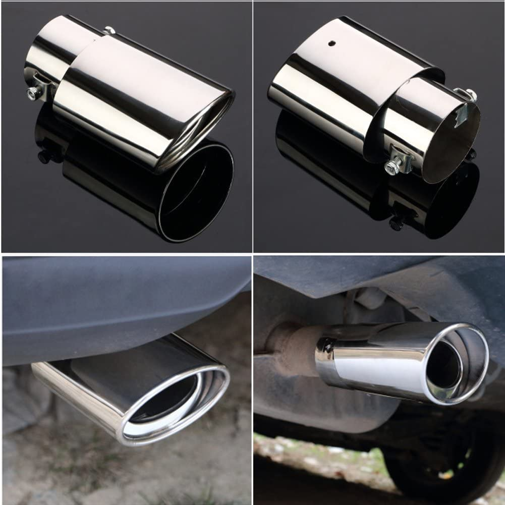 Silver Fit Pipe Diameter 1.5 to 2.3 inch Dsycar Universal Stainless Steel Car Exhaust Tail Muffler Tip Pipes Fit Pipe