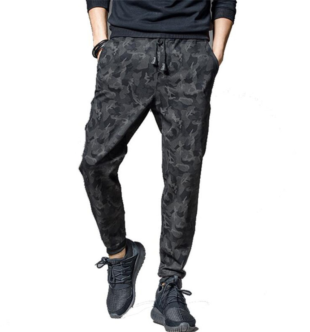 Workout Bodybuilding Clothing Casual Camouflage Sweatpants black 4XL