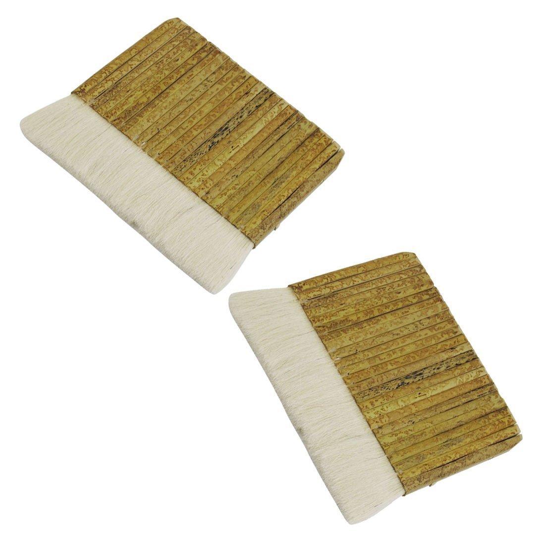 R 6  ancho Pincel de pintura de lana de imitacion blanco de mango de bambu caqui rectangular TOOGOO Pincel de pintura
