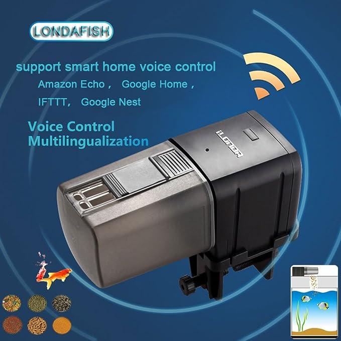 LONDAFISH Alimentador automático del Pescado del comedero de los Pescados del WiFi del Acuario Alimentador automático del Contador de Tiempo de la Comida de ...