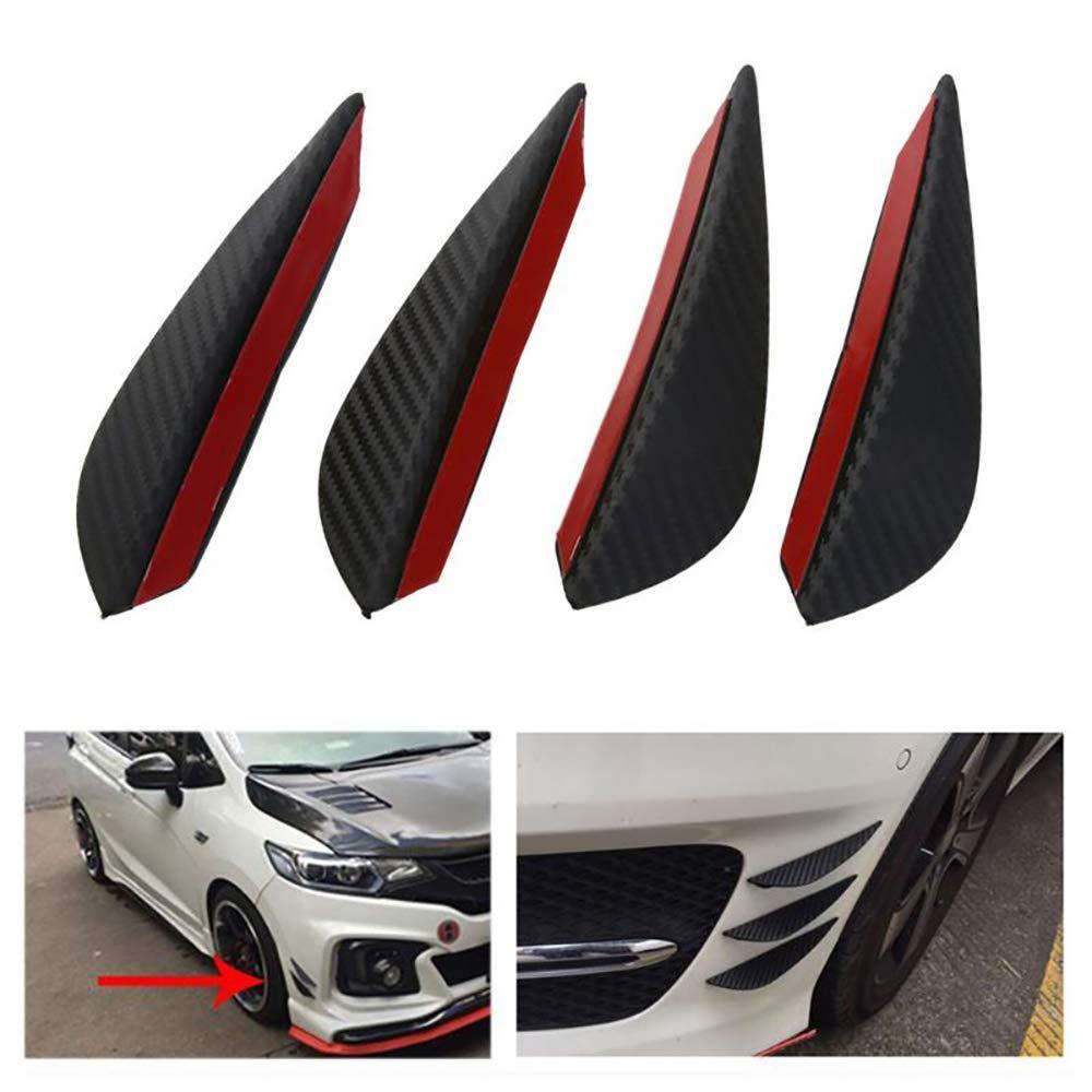 Konesky 4PCS Car Spoiler Canards Paraurti anteriore Corpo Spoiler Canards Universal ABS Carbonio Spoiler Canards Trim Kit