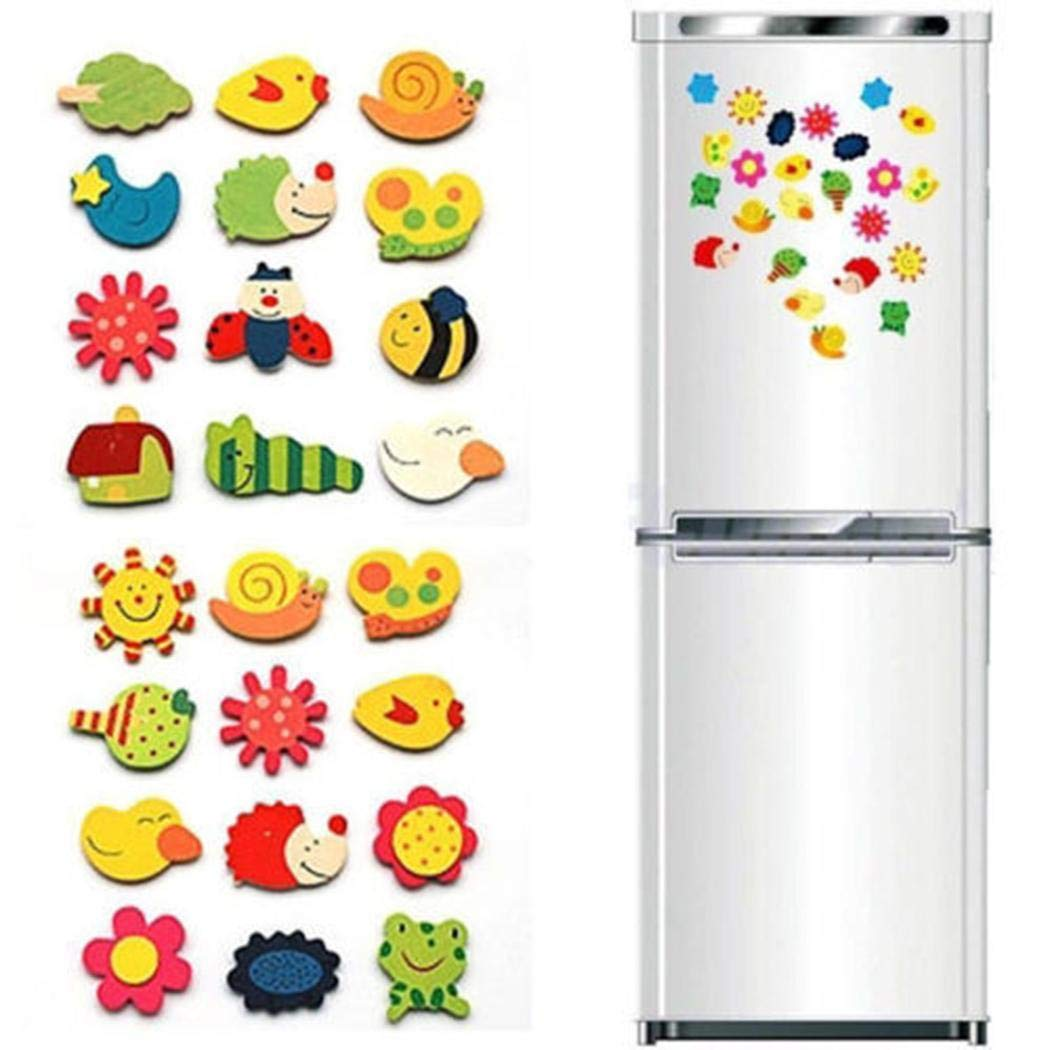 Halffle 12 PCS Cartoon Magnetic Animal Plant Pattern Wooden Magnet Refrigerator Stickers For Fridge Kids Toddlers Home Décor