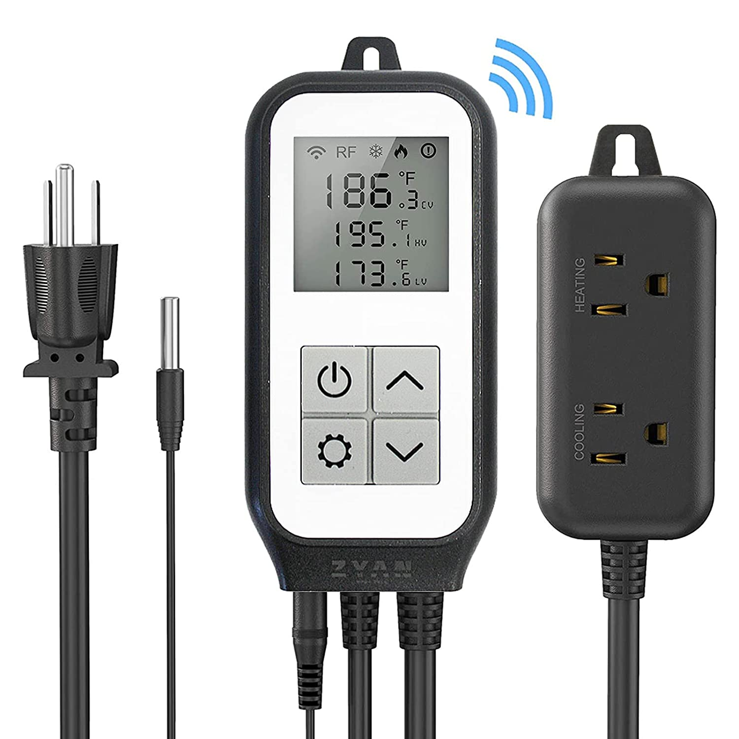 ZYAN WiFi Digital Temperature Controller, Smart Thermostat Controller Outlet Plug in Heating and Cooling Greenhouse Thermostat Wireless Remote Control by APP for Reptile Breeding Homebrew Terrarium