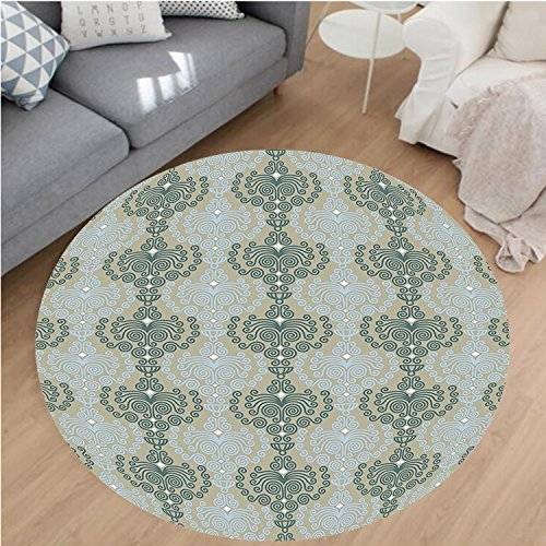 nel Microfiber Non-Slip Machine Washable Round Area Rug-stract Art Damask Decor Floral Ornament Background Wallpaper Pattern Print Blue and Taupe area rugs Home Decor-Round 71
