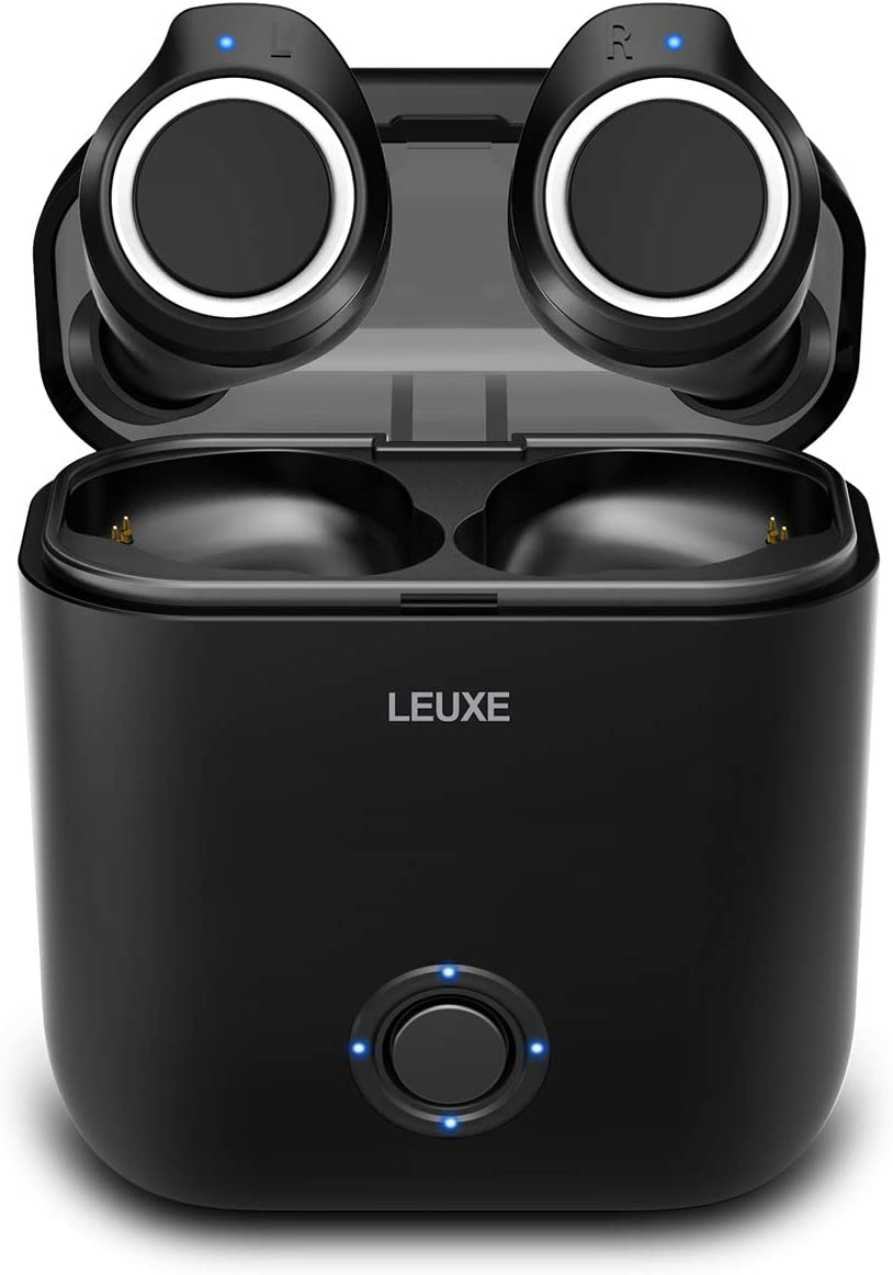 Bluetooth 5.0 Headphones, LEUXE True Wireless Earbuds Deep Bass Stereo Sound Bluetooth Earphones Mini in-Ear Binaural Call Headsets with Built-in Mic and Charging Case for Music Talking and Sports