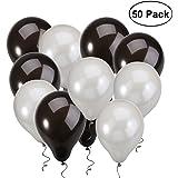 NUOLUX Palloncini palloncini neri argento per nozze festa di compleanno,50pcs