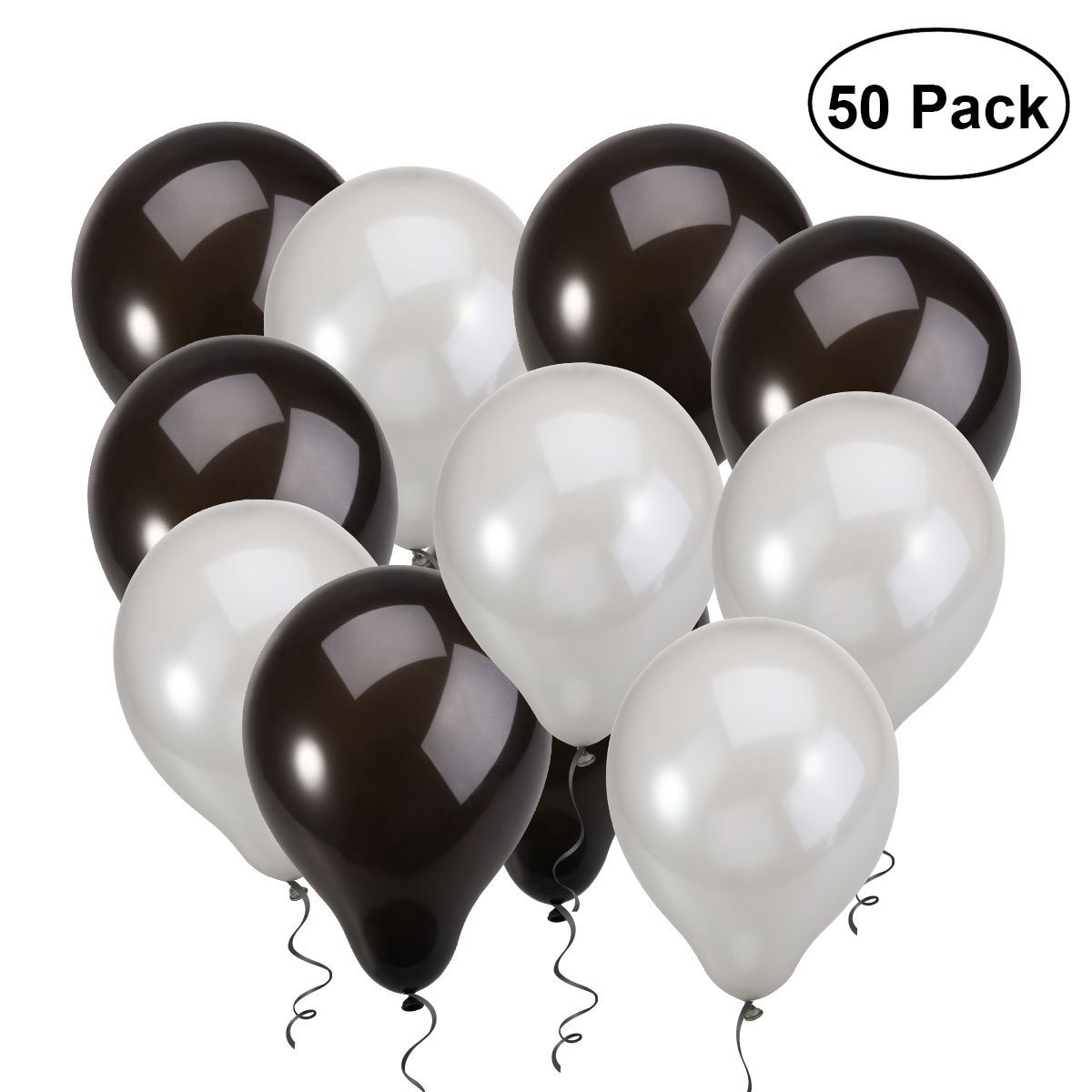 NUOLUX Latex Balloons,12 inch Black Silver Balloons for Wedding Birthday Party,50pcs