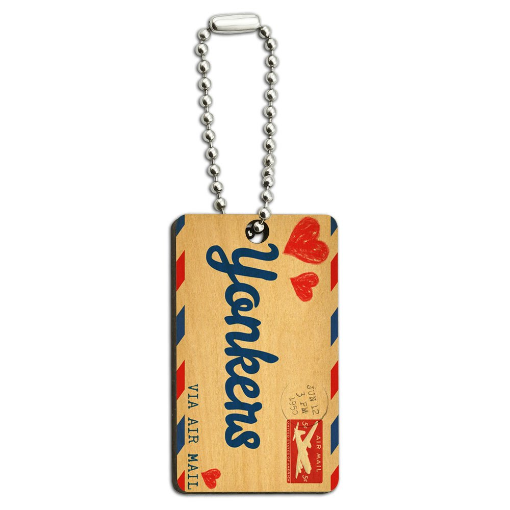 Air Mail Postcard Love for Yonkers Wood Wooden Rectangle Key Chain