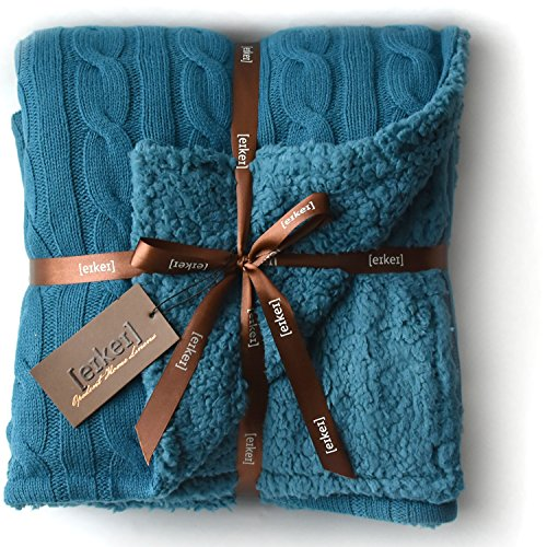 Cable Knit Sherpa Oversized Throw Reversible Blanket Faux Sheepskin Lined Cozy Cotton Blend Sweater Knitted Afghan in Grey White or Turquoise Blue (Ocean - Blue Afghans