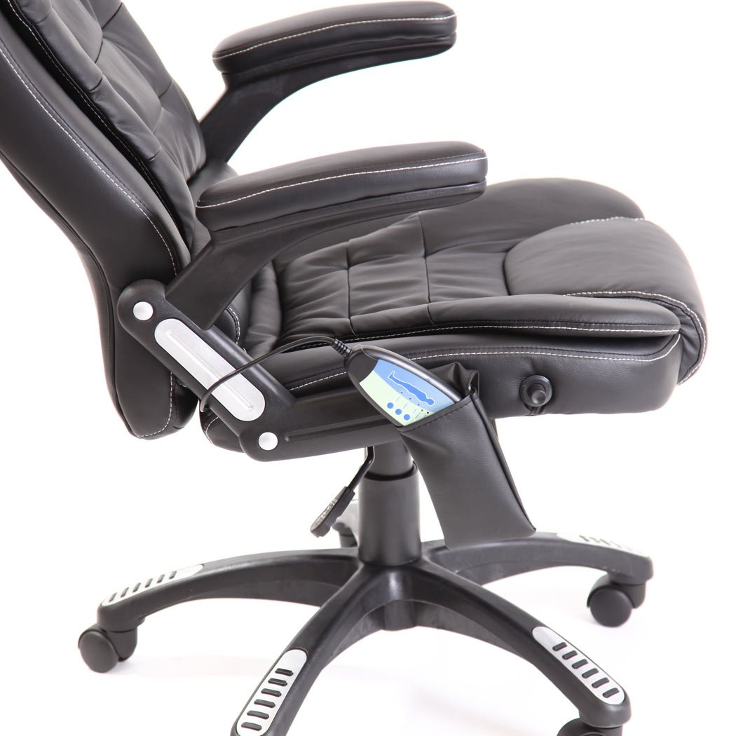 RIO CREAM RECLINING MASSAGE LEATHER OFFICE CHAIR w 6 POINT MASSAGE