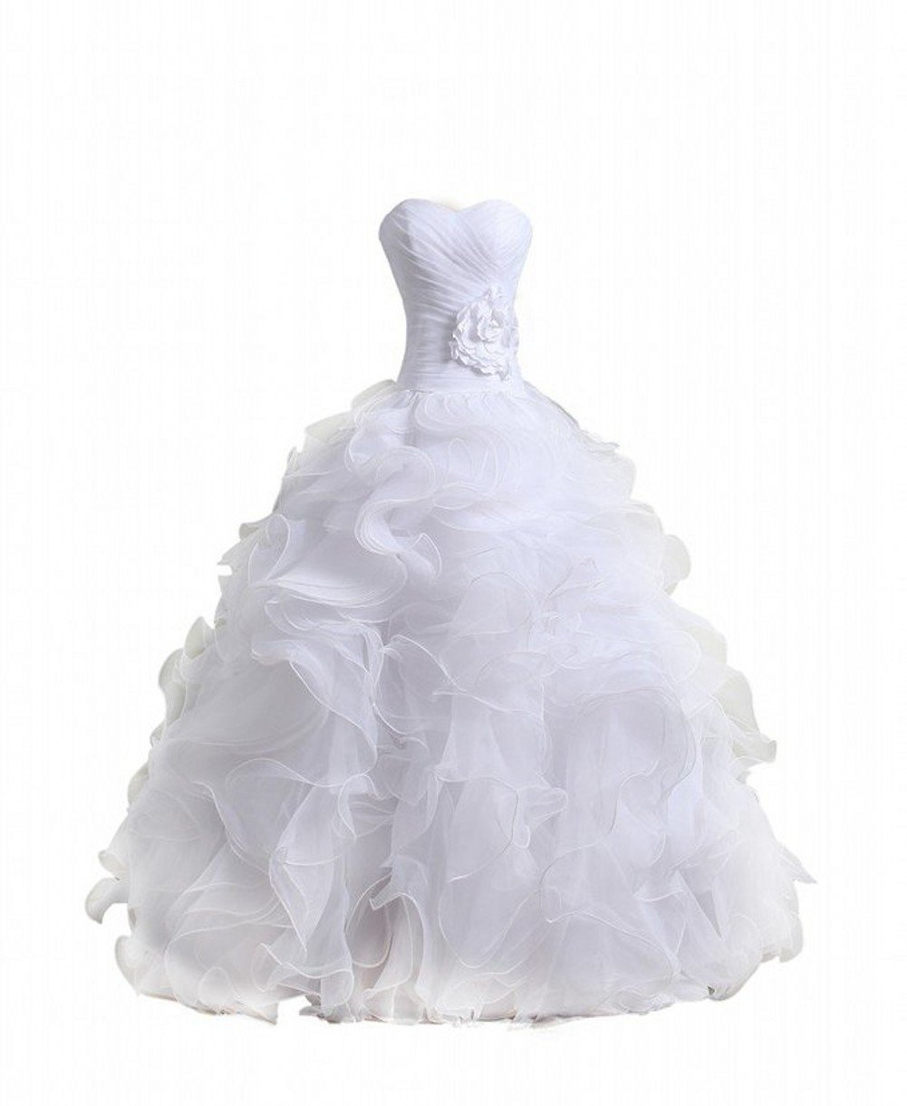 Bridal Mall Women's Organza Sweetheart Neckline Cascading Ruched Wedding Dress product image