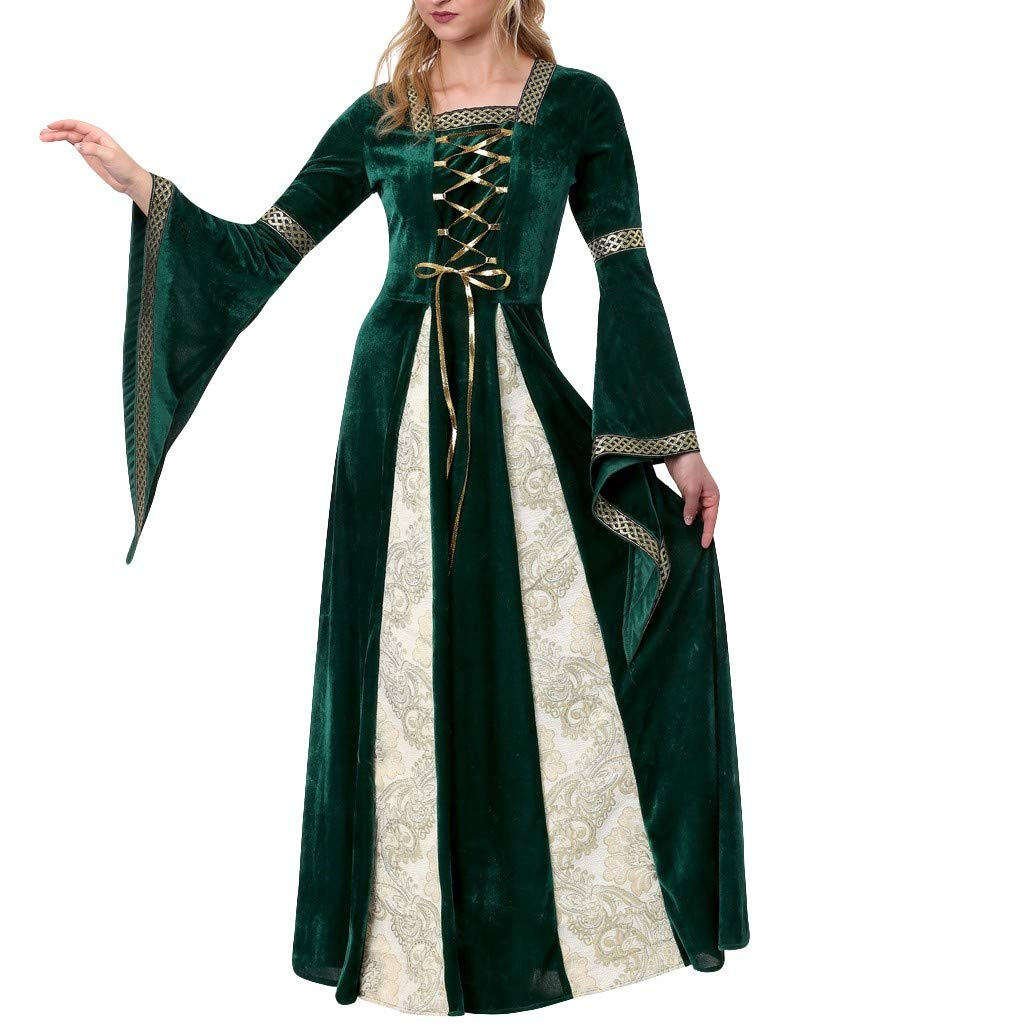 sweetnice Women Dresses Womens Halloween Princess Cosplay Costume Medieval Renaissance Retro Lace up Gowns (2XL, Green)