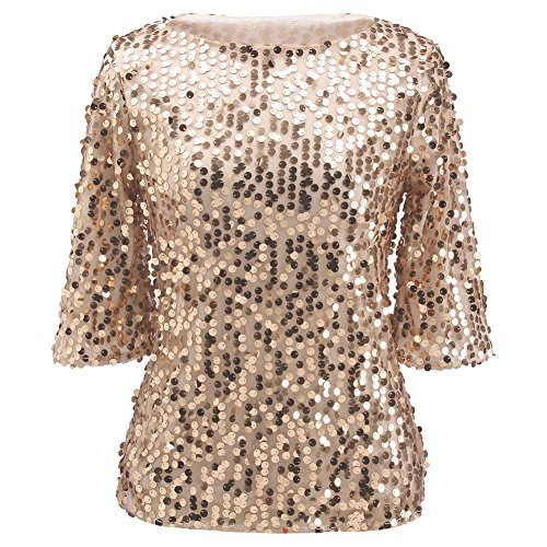ZG&DD Women Sequin Sparkle Glitter Tank Coctail Party Tops Shining T-Shirt Blouses, golden, -