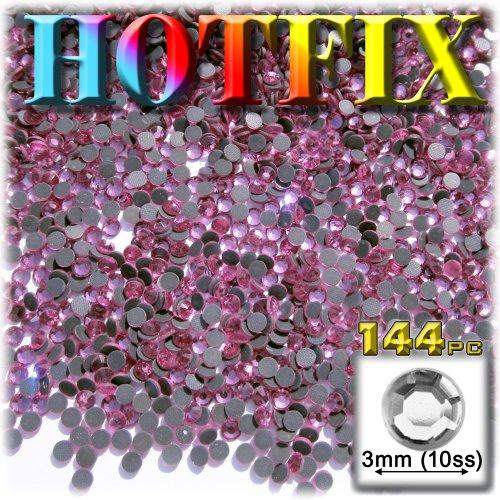 Rose Pink Glass Rhinestones - The Crafts Outlet DMC HOTFIX Glass 144-Piece Round Rhinestone Embellishment, 3mm, Light Rose Pink