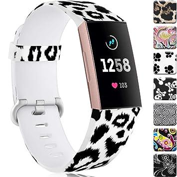 Zekapu Bracelet Compatible pour Fitbit Charge 3 & Charge 3 Se, Imperméable Durable Fadeless Modèle Imprimé Silicone Bracelet, Grand Petit Femmes ...