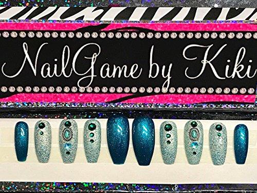 Jaded Hand Designed Nail Set Fake Nails False Nails Custom Nails Press on Nails Glue on Nails Coffin Shaped Nails (Shaped Glue)