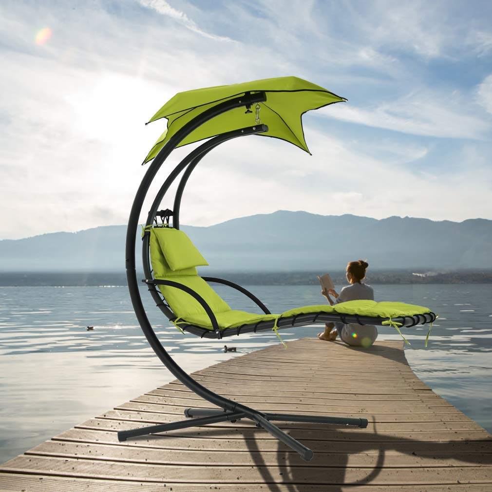 FDW Patio Chair Lounger Chair Hanging Chaise Floating Chaise Canopy Swing Lounge Chair Hammock Arc Stand Air Porch Stand for Outdoor Indoor by FDW (Image #2)