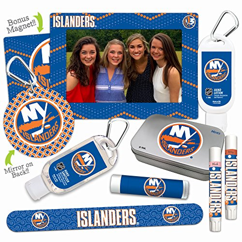 Price comparison product image NHL New York Islanders Platinum Variety Set— with 2 Lip Shimmers, Lip Balm SPF 15, Nail File, Mirror, Sanitizer, Lotion, Mint Tin, Magnetic Picture Frame. Gifts for Women, by Worthy.
