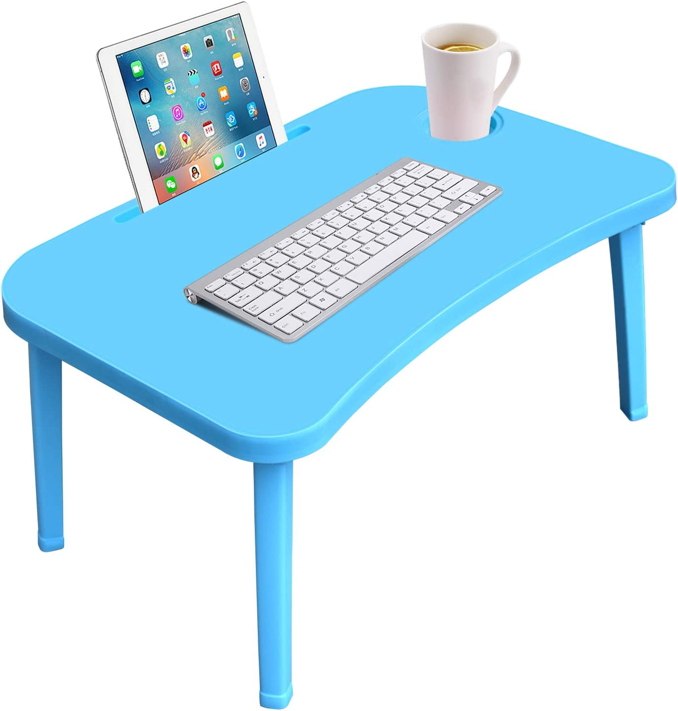 Folding Laptop Bed Tray Table, Large Painting Table with Phone Tablet Holder and Cup Holder, Hmfur Portable Standing Table with Foldable Legs for Bed Sofa Couch-Blue