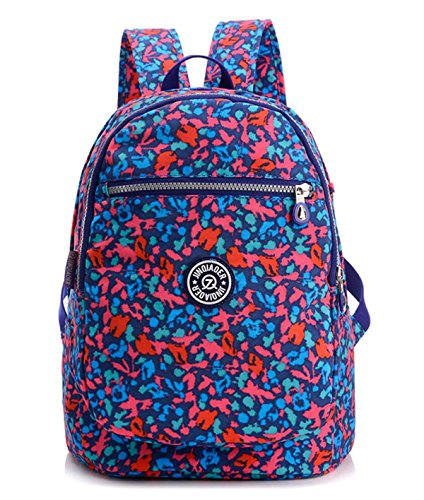 Girls Lightweight Floral Backpack Purse Water-resistant Nylon Travel Hiking Daypack for Women Kids Backpack School Bag (Blue Camo)