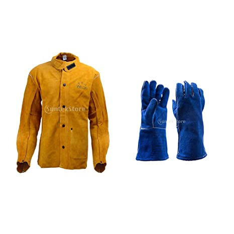 FITYLE Productos de Seguridad para Soldaduro Conjunto de Chaqueta con Par de Guantes Azul Ropa Jardín