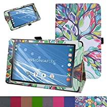 "Insignia NS-P08A7100 Case,Mama Mouth PU Leather Folio 2-folding Stand Cover with Stylus Holder for 8"" Insignia Flex NS-P08A7100 Andriod 6.0 Tablet 2016,Love Tree"