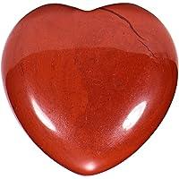 Morella Pierres précieuses en forme de cœur Jaspe rouge Ange porte bonheur ange gardien à emporter partout 3 cm dans un sac de velour