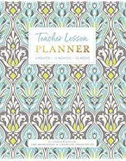 Teacher Lesson PLANNER, Undated 12 Months & 52 Weeks for Lesson Planning, Time Management & Classroom Organization: Elegant Muted Classic Womens Damask Pattern Instructor Plan Calendar Book