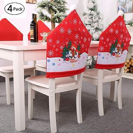 rosemaryrose 4 Confezioni Coprisedia Natalizio A Cappello di Babbo Natale Rosso Copri Spalliera Decorazioni Natalizie Addobbi per Casa