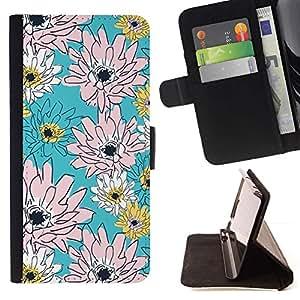 For Samsung Galaxy Note 5 5th N9200 Case , Rosa del estampado de flores del papel pintado- la tarjeta de Crédito Slots PU Funda de cuero Monedero caso cubierta de piel