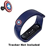 CellFAther Silicone Wristband for Mi Band 4/Mi Band 3 Straps Captain America (Blue) (Tracker Not Included)