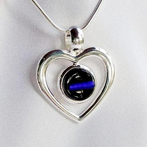 THIN BLUE LINE Police Heart Dichroic Fused Glass Jewelry Pendant with Necklace