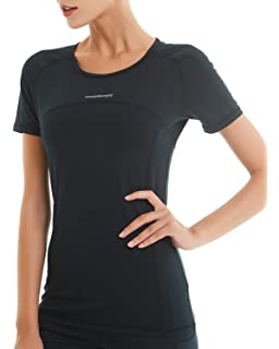 4e8487fd182610 COOLOMG Women s Compression Short Sleeve T-Shirts Training Top Cool Dry  Baselayer Sports Workout Athletic