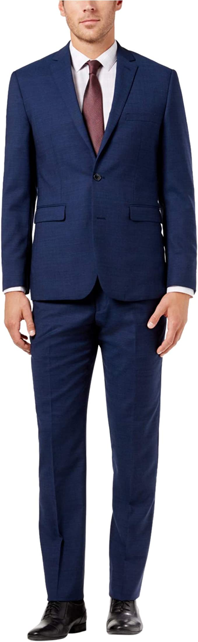 Vince Camuto Mens Modern Slim Navy Chambray Suit