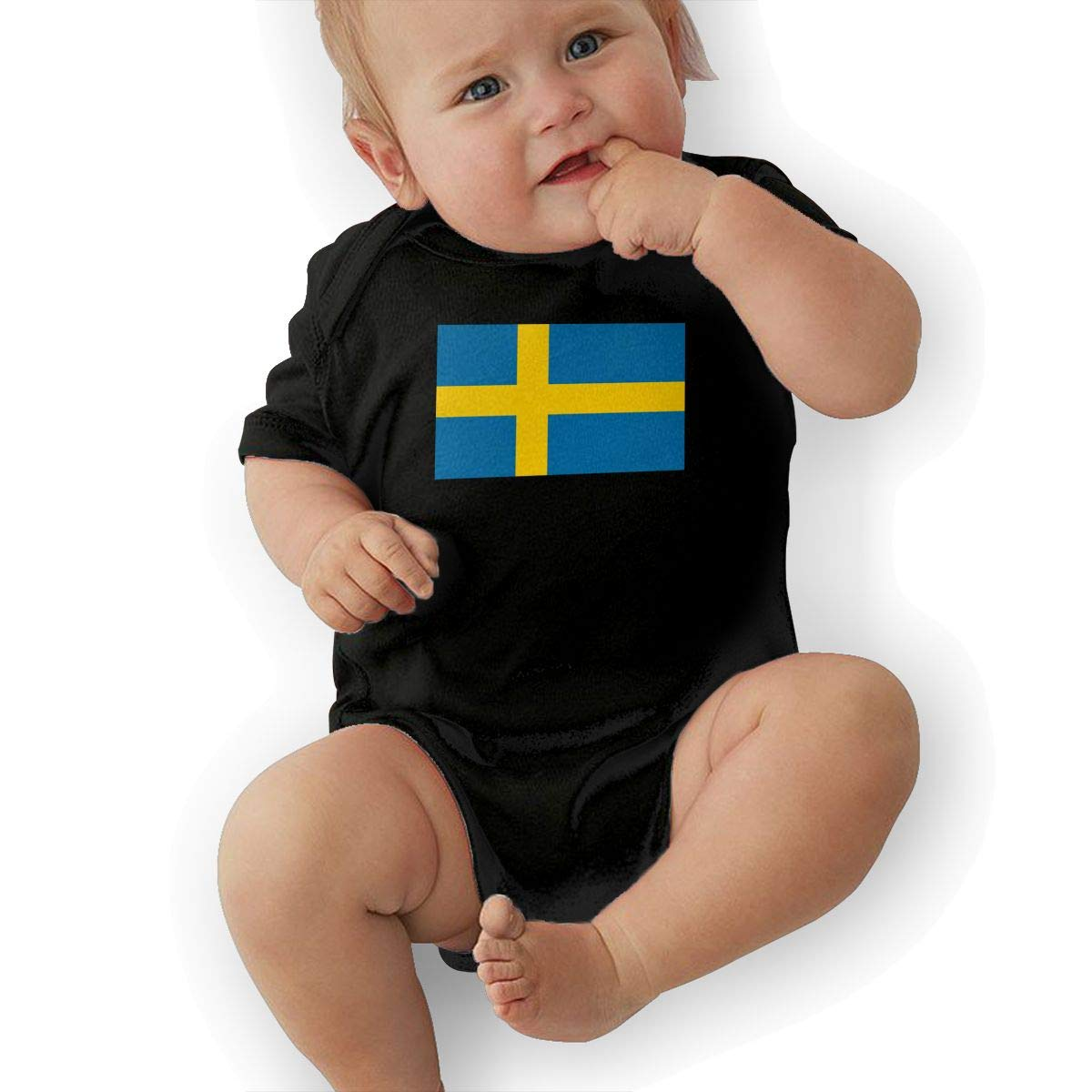U88oi-8 Short Sleeve Cotton Rompers for Baby Girls Boys Cute Sweden Flag Crawler