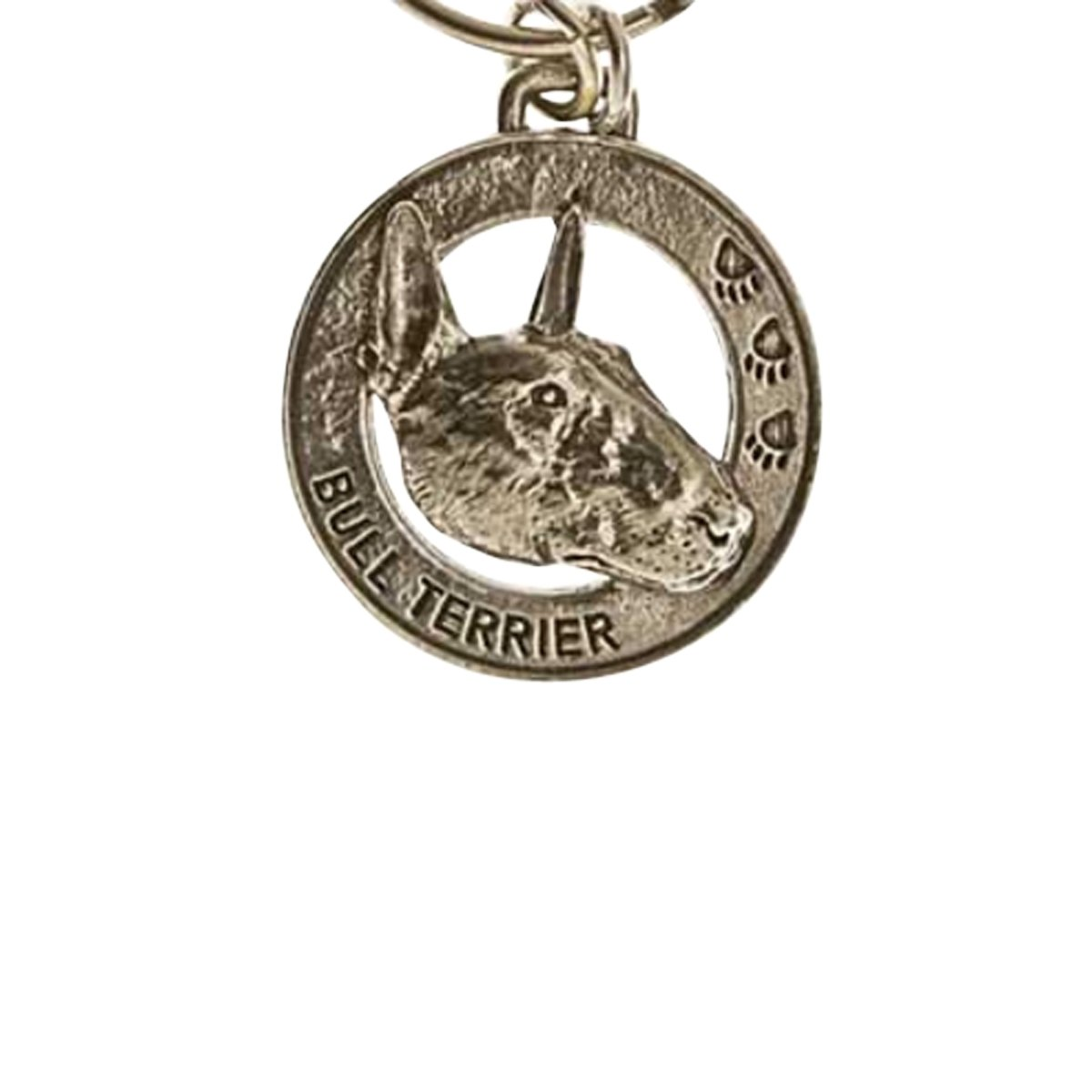 Creative Pewter Designs, Pewter Bull Terrier Key Chain, Antiqued Finish, DK040