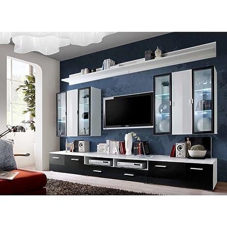 JUSThome ICALIND Parete da Soggiorno Parete attrezzata (AxLxP): 190x300x45  cm Bianco Opaco | Nero Bianco Lucido