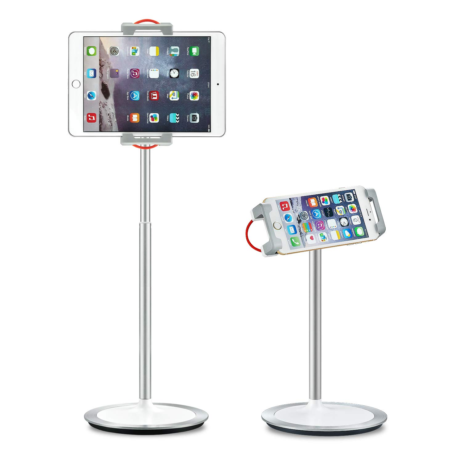 Saiji Tablet Stand Holder, Height Adjustable, 360 Degree Rotating, Aluminum Alloy Cradle Mount Dock for 4.7-12.9 inch iPhone Samsung, iPad, Nintendo Switch, Kindle, eBook Reader (Silver)