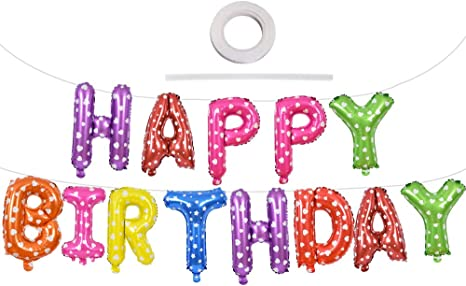 Happy Birthday Letter Connected Foil Balloons  Born Day Party Decorations Lobos