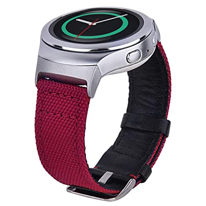 CAGOS Compatible Samsung Gear S2 Bands, Nylon with Leather Wrist Strap Bracelet Replacement for Gear S2 Sport Smart Watch Band SM-R720/R730 (Burgundy)