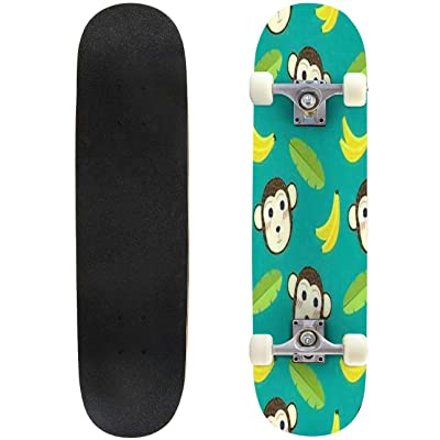 Classic Concave Skateboard Monkey Seamless Pattern Set Animal Cute Illustration Longboard Maple Deck Extreme Sports and Outdoors Double Kick Trick for Beginners and Professionals : Sports & Outdoors