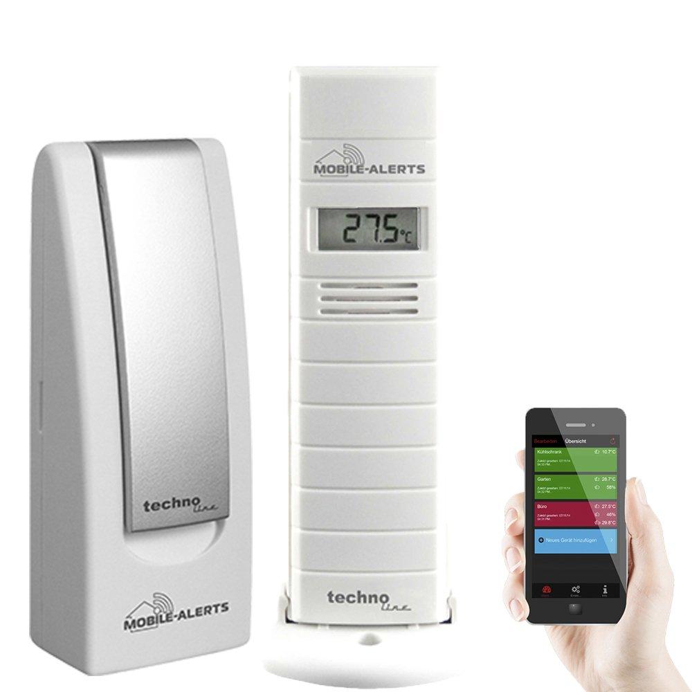 Technoline - Sensor MA 10200 y Controlador de Temperatura y Humedad para terrarios e invernaderos, Blanco, 3,8 x 2,1 x 12,8 cm